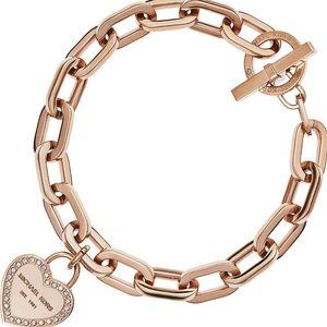 MK Rosegold Heritage Chain Link Toggle Bracelet